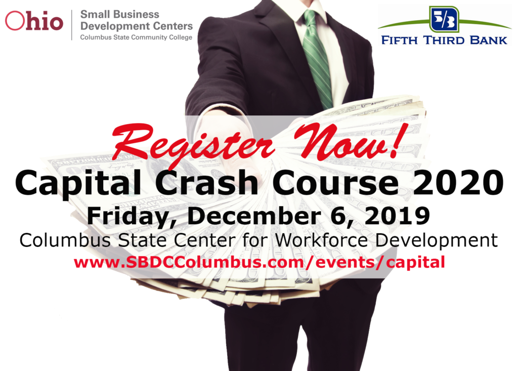 Ohio SBDC Capital Crash Course Event Image of man extending hand full of money with event location information